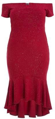 Quiz Curve Berry Glitter Bardot V Bar Dip Hem Dress
