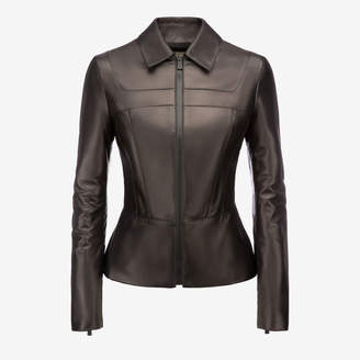 Bally Nappa Leather Peplum Jacket Black, Women's nappa leather jacket in black