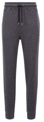 BOSS Hugo Cuffed loungewear pants in double-faced melange fabric L Grey