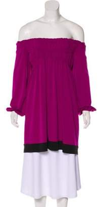 Muse Off-the-Shoulder Ruched Tunic w/ Tags Magenta Off-the-Shoulder Ruched Tunic w/ Tags