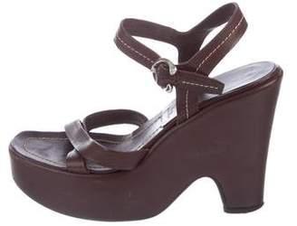 Prada Leather Wedge Sandals