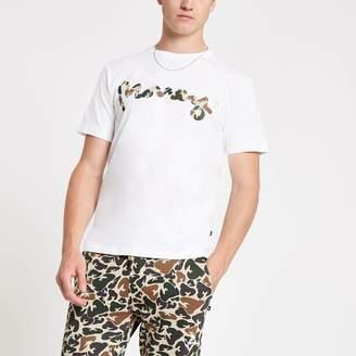 32879abc5 River Island Mens Money Clothing White camo logo T-shirt