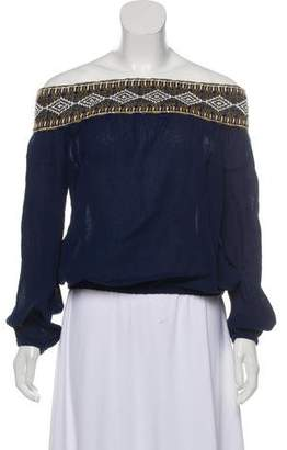 Tory Burch Embroidery-Accented Long Sleeve Top