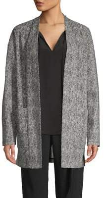 Halston H Printed Open-Front Cardigan