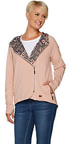 At Qvc  C B Peace Love World Reversible Knit Jacket Withallover Print