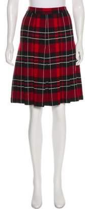 St. John Pleated Plaid Skirt Red Pleated Plaid Skirt