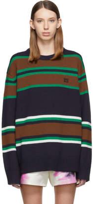 Acne Studios Navy and Multicolor Nimah Face Crewneck Sweater