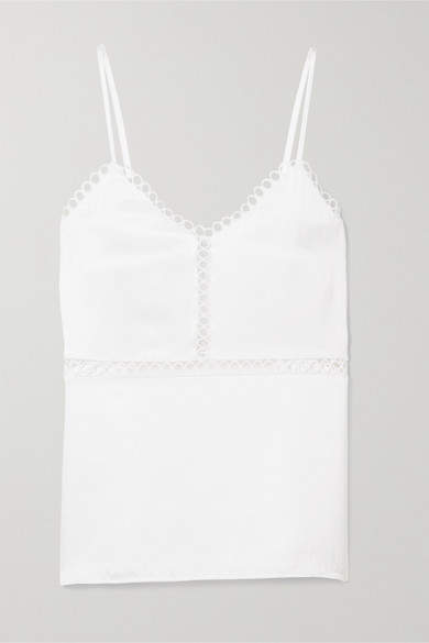 Cami NYC - Tracey Lattice-trimmed Silk-charmeuse Camisole - White