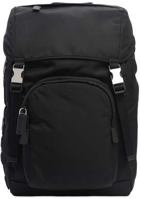 Prada Nylon Backpack W/ Leather Logo Patches