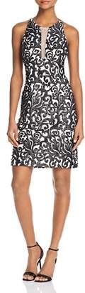 Aidan Mattox Mesh-Detail Embroidered Dress - 100% Exclusive