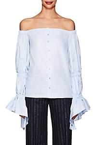 Osman Women's Ilima Cotton Off-The-Shoulder Blouse-Blue Size 8 Uk