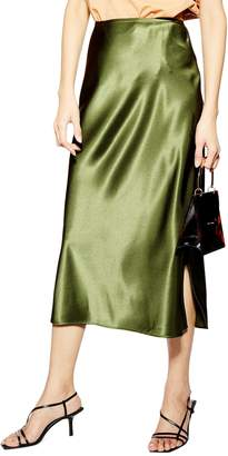 b667369e0343 Topshop Slit Bias Cut Satin Midi Skirt