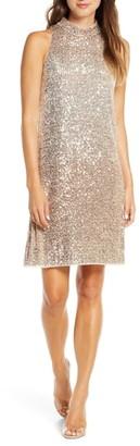 Taylor Dresses Ombre Sequin Mock Neck Dress