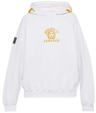 Versace Medusa Embroidered Cotton Hooded Sweatshirt - Mens - White Gold