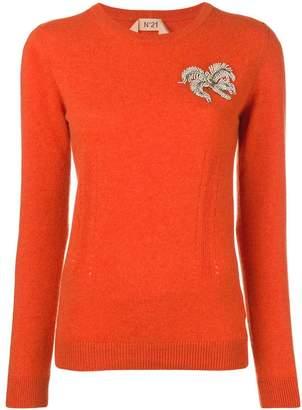 No.21 embellished long-sleeve sweater