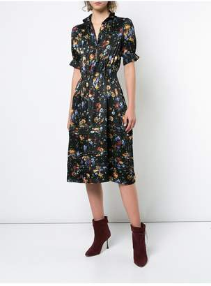 ADAM by Adam Lippes Floral Hammered Silk Dress With Peter Pan Collar And Tiered Hem