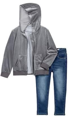 AG Jeans Velvet Hoodie, Short Sleeve Tee, & Pants Set (Toddler Girls)