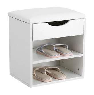 HURRISE Entryway Shoes Storage Bench,Home Hallway Shoe Bench Wooden Shoes Storage Organizer Cabinet Padded Seat