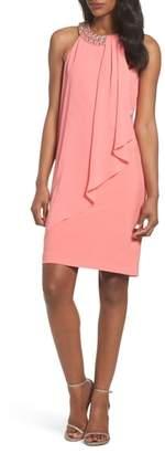 Vince Camuto Embellished Chiffon Overlay A-Line Dress