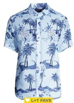 Black & Brown Black Brown Aqua Floral Linen Shirt