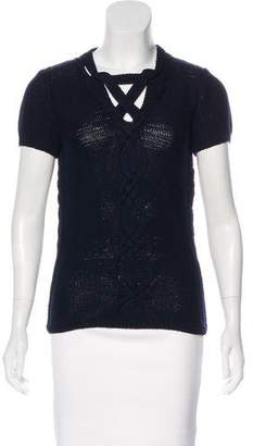 Oscar de la Renta Short Sleeve Knit Top