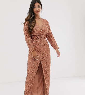 Asos DESIGN Petite maxi dress with batwing sleeve and wrap waist in scatter sequin