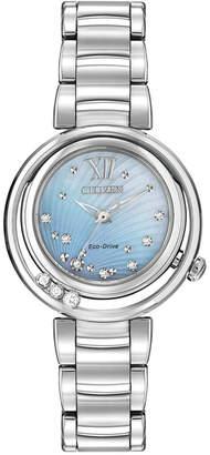 Citizen Women's Eco-Drive L Series Sunrise Diamond Accent Stainless Steel Bracelet Watch 29mm EM0320-59D
