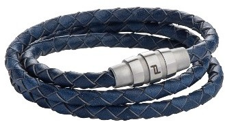 Men's Porsche Design Grooves Leather Wrap Bracelet