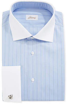 Brioni Striped Dress Shirt with Contrast Collar & French Cuffs, Blue