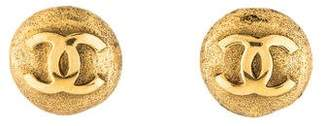 Chanel CC Logo Textured Disc Clip-On Earrings