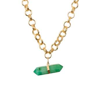 Tiana Jewel - Goddess Green Quartz Choker Neklace Gold