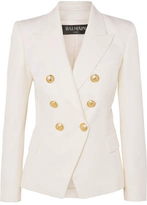 Balmain Double-breasted Grain De Poudre Wool Blazer - White