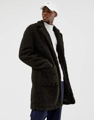 Asos DESIGN borg overcoat in green