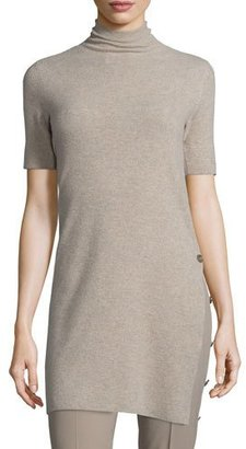 Ralph Lauren Collection Short-Sleeve Side-Button Sweater, Taupe $1,190 thestylecure.com