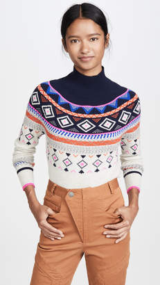Autumn Cashmere Fair Isle Mock Neck Cashmere Sweater