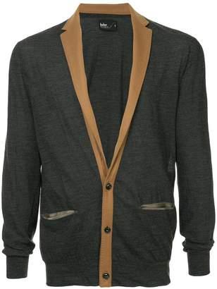 Kolor contrast lapel cardigan