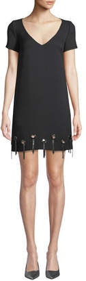 Badgley Mischka Grommet-Trim Short-Sleeve Shift Dress