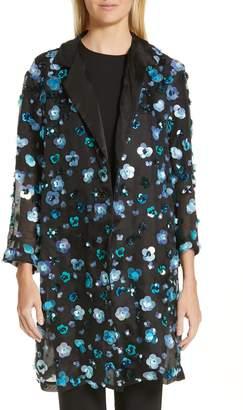 Mansur Gavriel Floral Sequin Sheer Silk Jacket