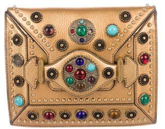 Alexander McQueen Embellished Leather Clutch Bronze Embellished Leather Clutch