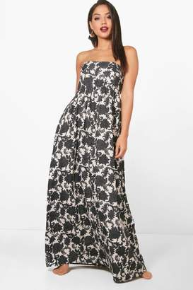 boohoo Dark Floral Shirred Maxi Dress