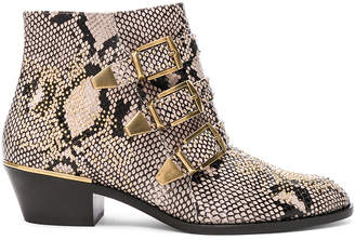 Chloé Susanna Python Print Leather Studded Ankle Boots