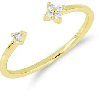 Bony Levy 18K Yellow Gold Faceted Diamond Detail Open Ring