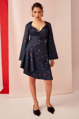 Keepsake UNCOVERED LONG SLEEVE WRAP DRESS navy scatter floral