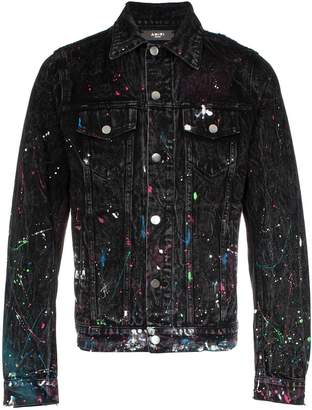 Amiri paint splatter print denim jacket