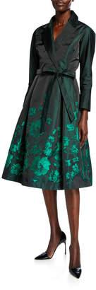 Rickie Freeman For Teri Jon Bracelet-Sleeve Taffeta Shirtdress with Floral Print