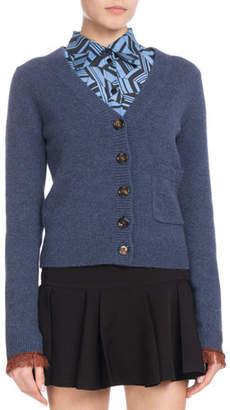 Chloé V-Neck Button-Front Cashmere Cardigan w/ Fringe Hem