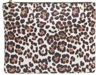 MALI AND LILI Mali + Lili Molly Leopard Print Vegan Leather Clutch