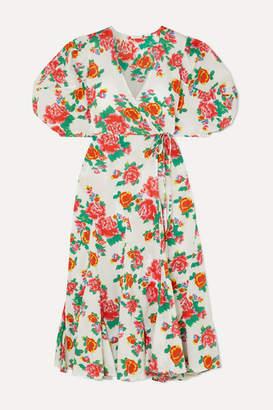 Rhode Resort Fiona Floral-print Cotton-poplin Wrap Dress - White