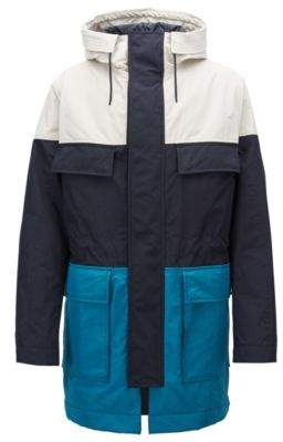BOSS Hugo Color-block parka jacket in soft-touch technical fabric 38R Dark Blue
