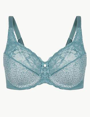 Marks and Spencer Floral Jacquard Lace Non-Padded Full Cup Bra DD-H